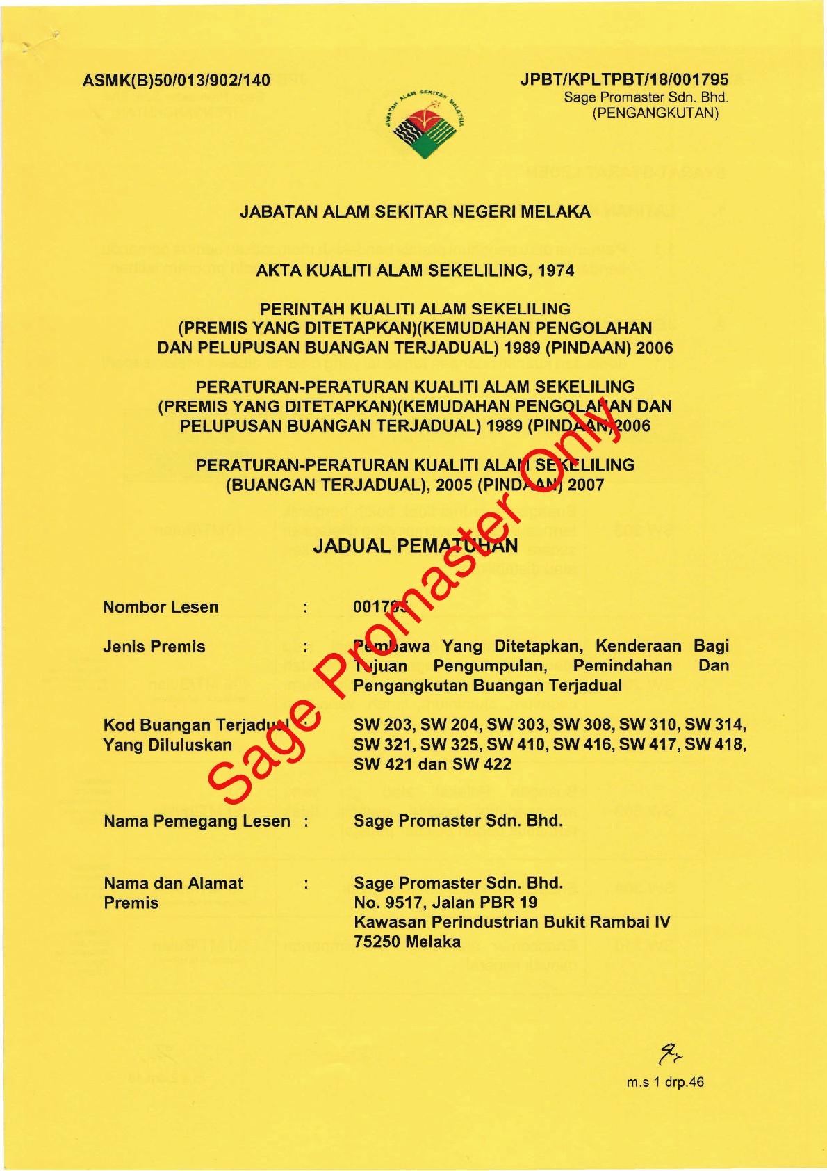 Jadual Pematuhan : No. Lesen 001795